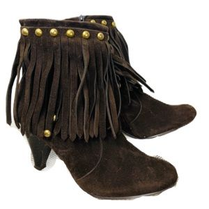 breckelles brown with gold stud fringe boots 7 1/2